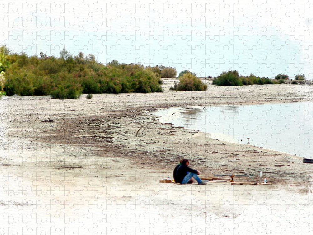 Watercolor Puzzle featuring the photograph Beach Goers-The Salton Sea in Digital Watercolor by Colleen Cornelius