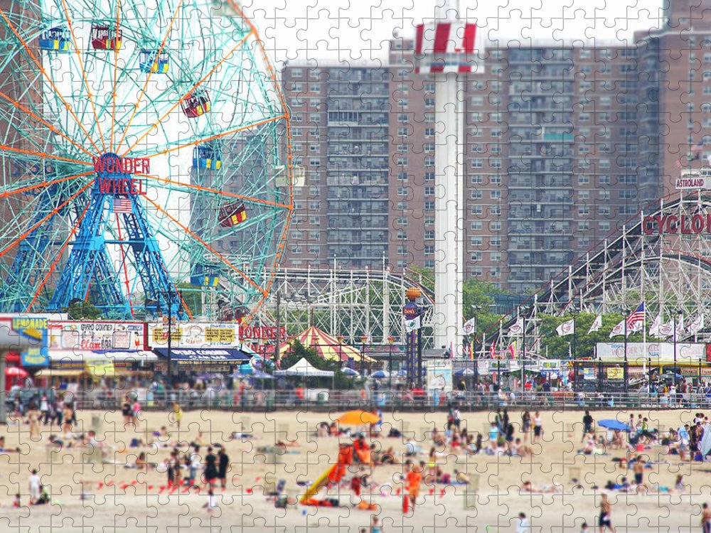 People Puzzle featuring the photograph Beachgoers At Coney Island by Ryan Mcvay