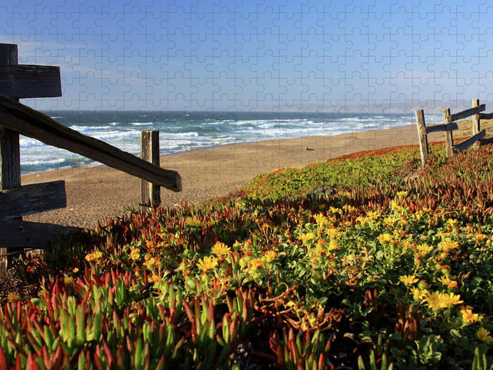 Water's Edge Puzzle featuring the photograph Beautiful California Beach Scene And by Ejs9