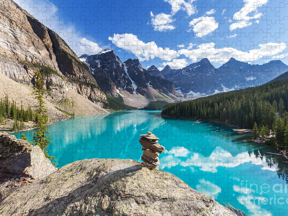 Canadian Puzzle featuring the photograph Beautiful Moraine Lake In Banff by Galyna Andrushko
