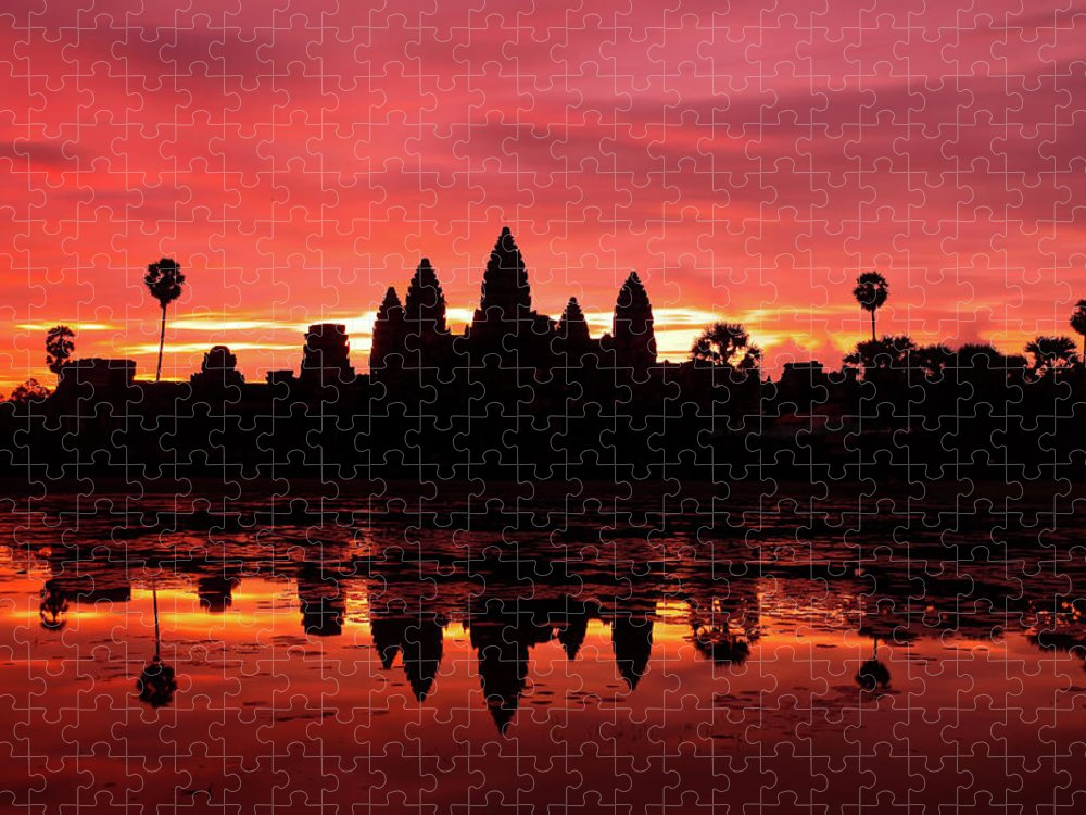 Cambodian Culture Puzzle featuring the photograph Beautiful Sunrise At Angkor Wat by Douglas Macdonald