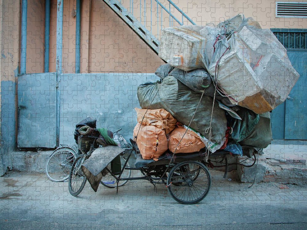 Tranquility Puzzle featuring the photograph Beijing Tricycle With Trash by Nora Tejada