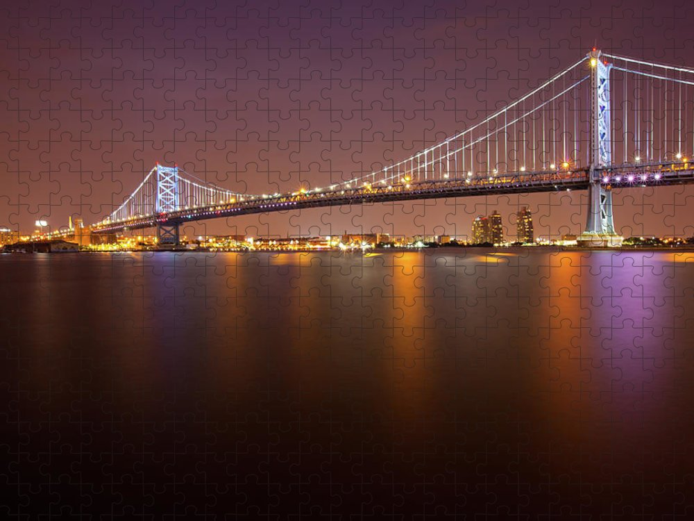 Built Structure Puzzle featuring the photograph Ben Franklin Bridge by Richard Williams Photography
