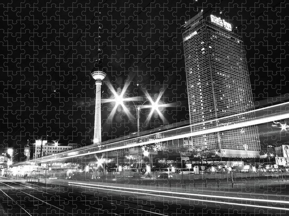 Alexanderplatz Puzzle featuring the photograph Berlin Alexanderplatz At Night by Bernd Schunack