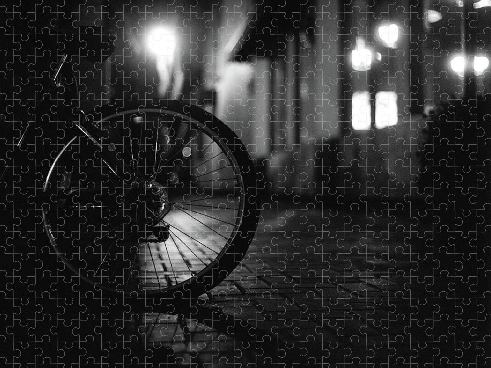 Shadow Puzzle featuring the photograph Bicycle In Dark Street by Satoshi Otani