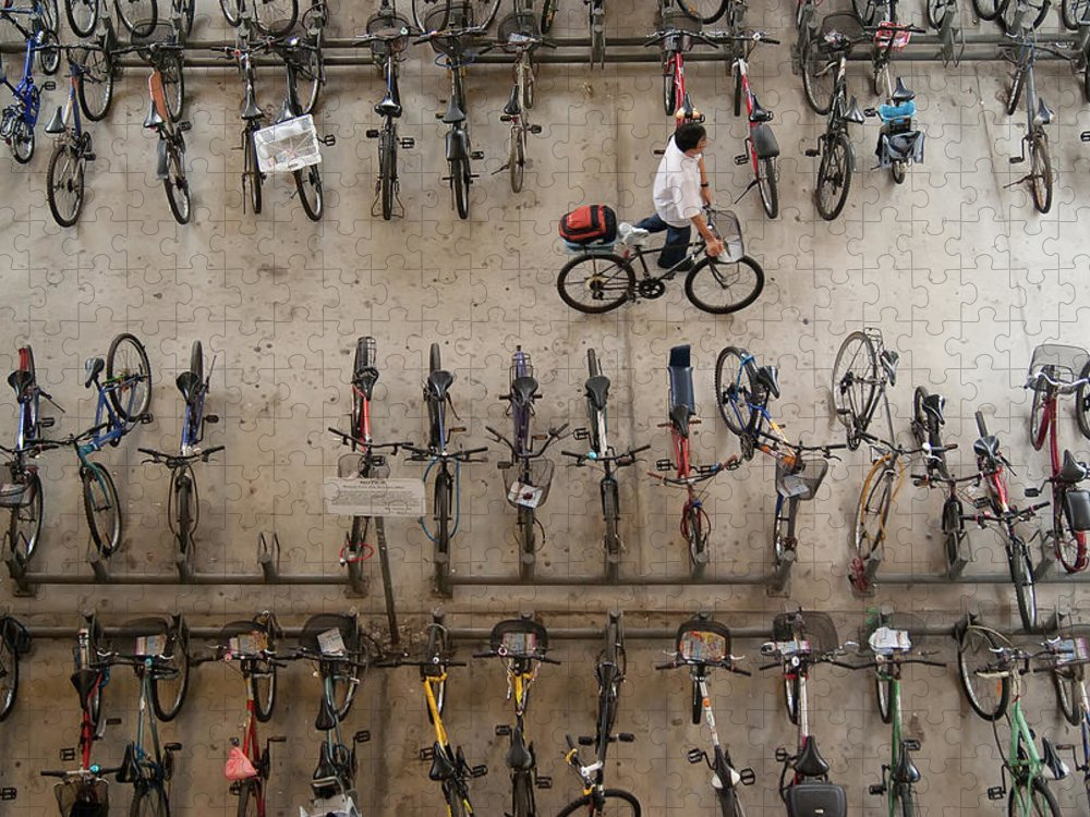 People Puzzle featuring the photograph Bicycle Park At Boon Lay Mrt Station by Kokkai Ng
