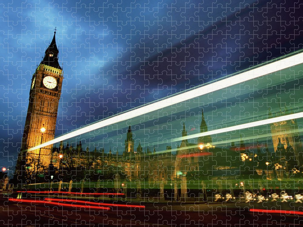 Gothic Style Puzzle featuring the photograph Big Ben And The Houses Of Parliament by Allan Baxter