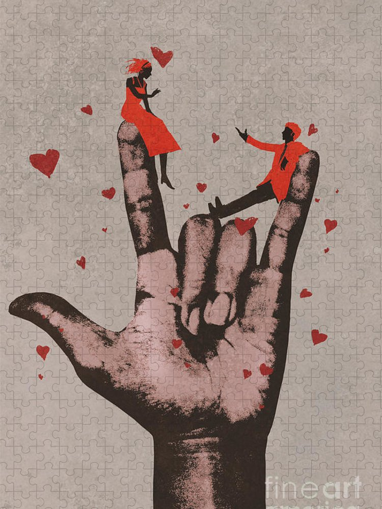 Love Puzzle featuring the digital art Big Hand In I Love You Sign by Tithi Luadthong