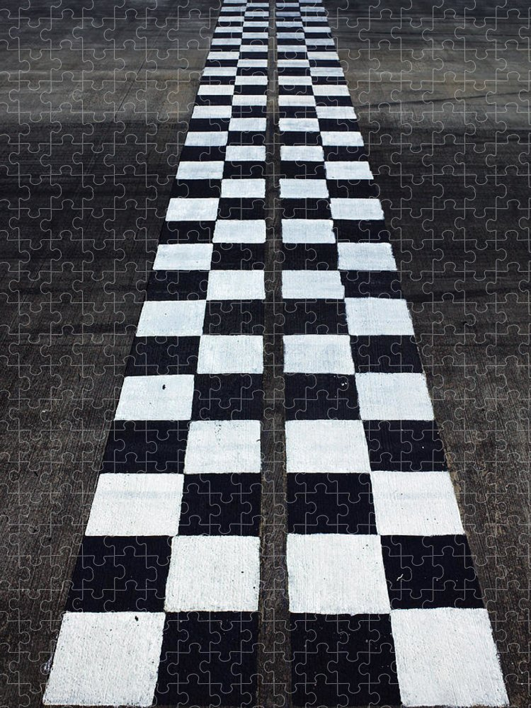 Finish Line Puzzle featuring the photograph Black And White Finish Line by Win-initiative/neleman