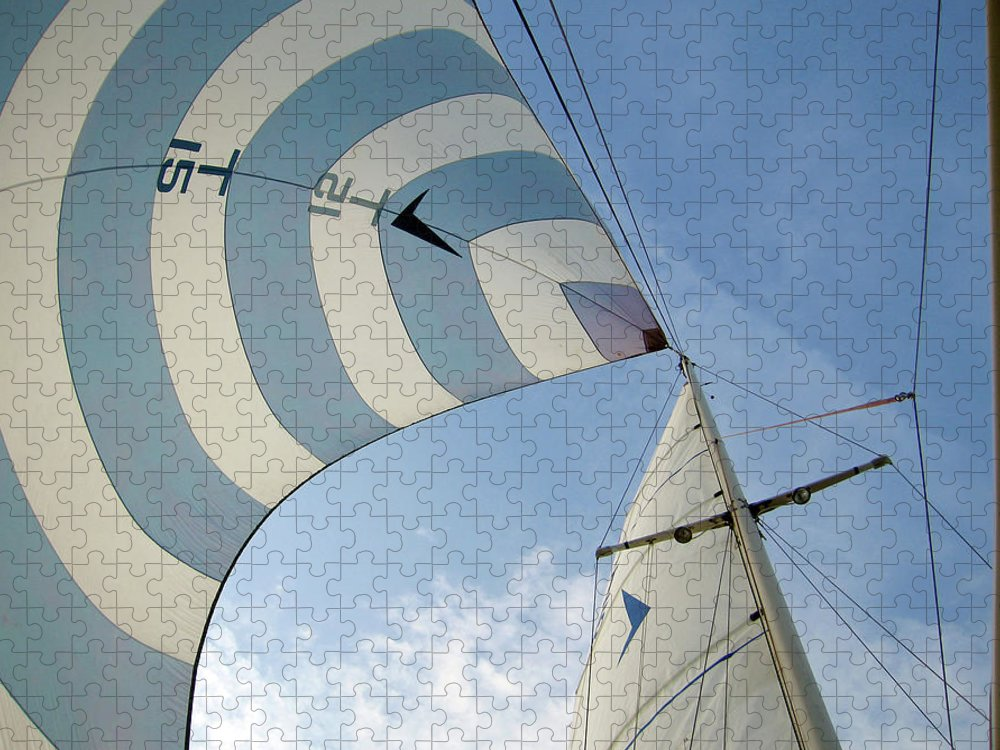 Tranquility Puzzle featuring the photograph Blue And White Spinnaker by Laura A. Watt