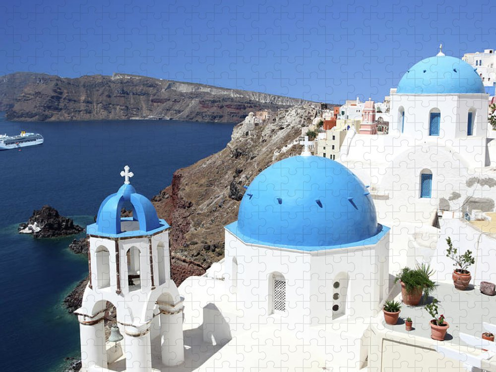 Greek Culture Puzzle featuring the photograph Blue Domes Of Santorini by Jurgar