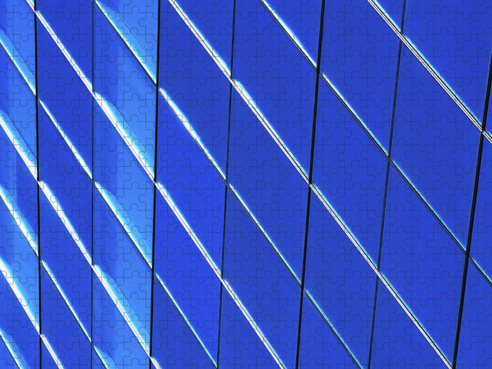 Outdoors Puzzle featuring the photograph Blue Glass Modern Building by Joelle Icard