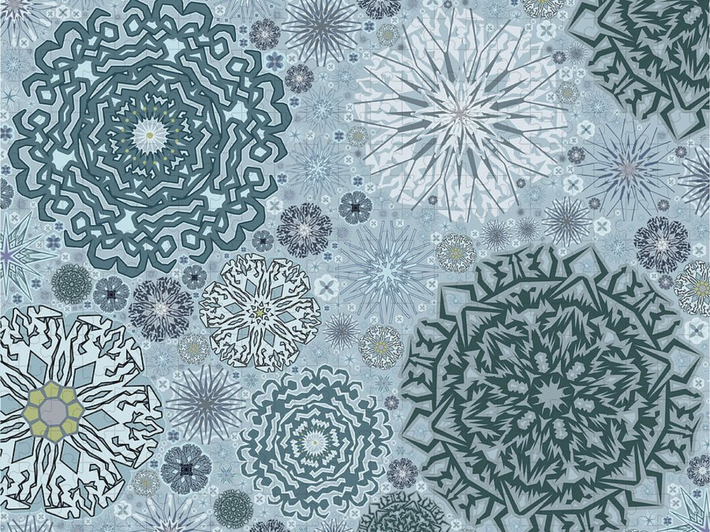 Art Puzzle featuring the digital art Blue Snowflake Pattern by Bodhi Hill