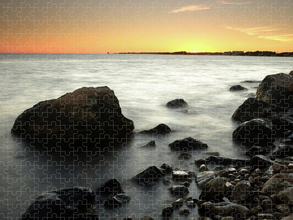 Water's Edge Puzzle featuring the photograph Bluff Point Sunset by Ericfoltz