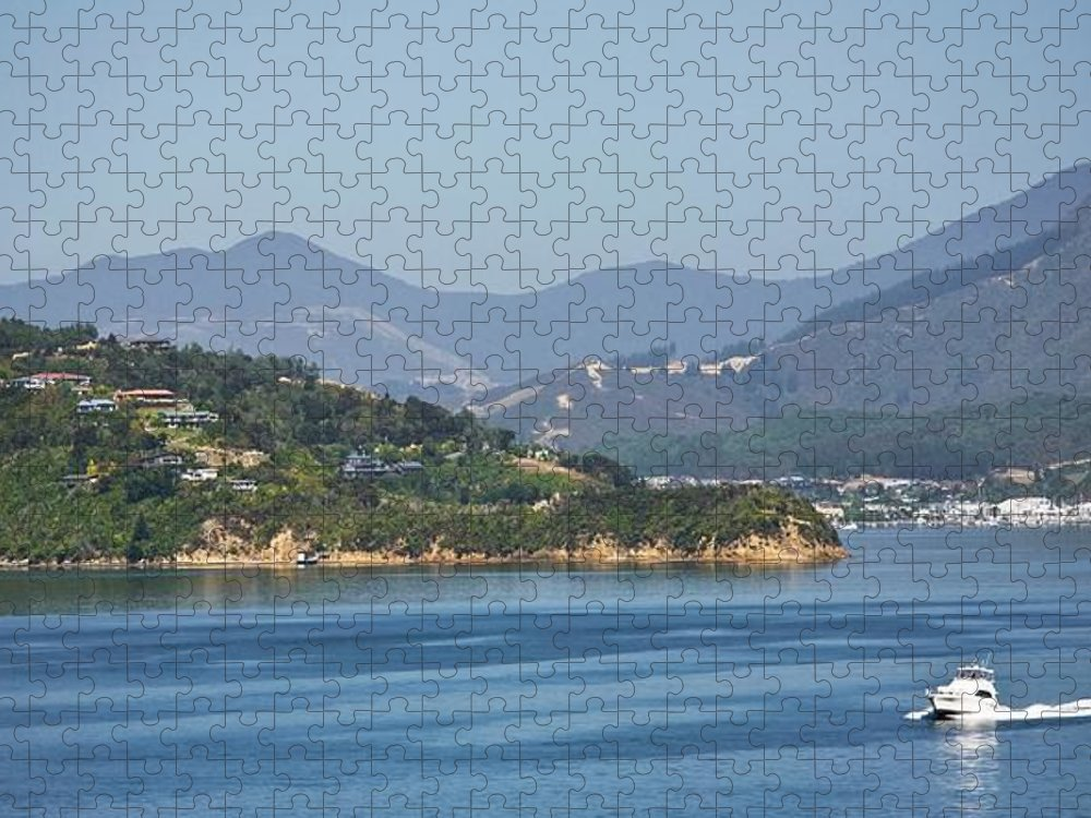 Panoramic Puzzle featuring the photograph Boat On Water, Queen Charlotte Sound by Design Pics / John Doornkamp