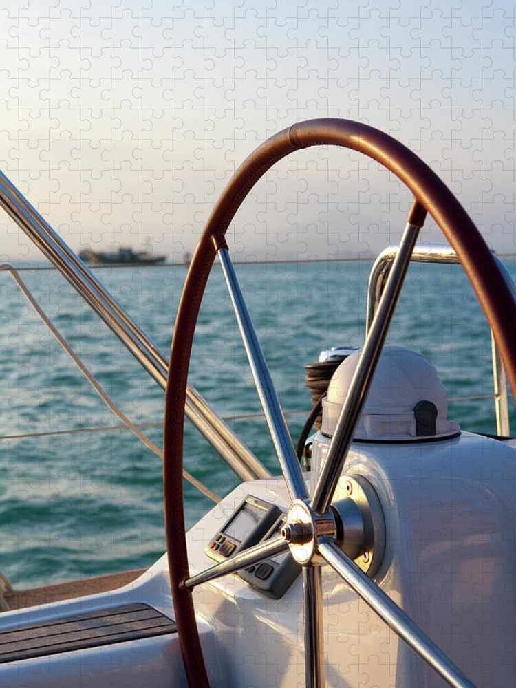 Tranquility Puzzle featuring the photograph Boat Steering Wheel by Lane Oatey/blue Jean Images