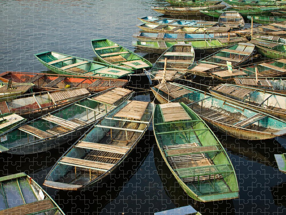 Tranquility Puzzle featuring the photograph Boats At Tam Coc by Janette Asche