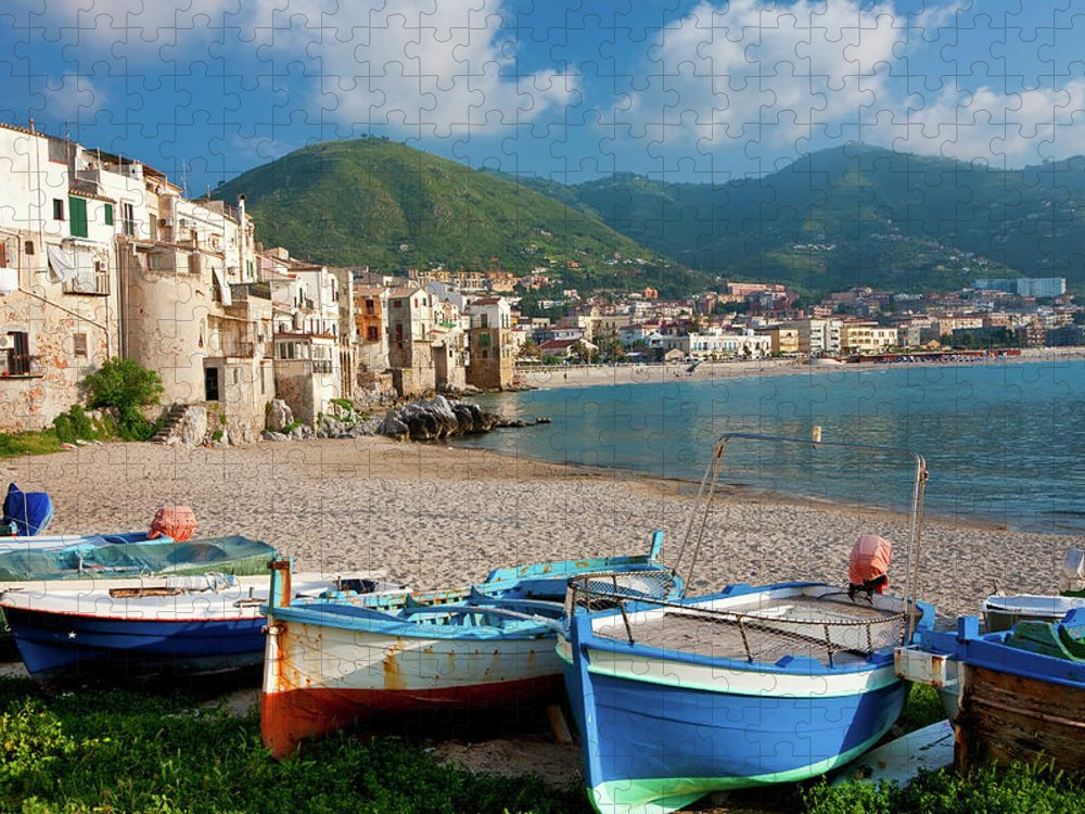 Sicily Puzzle featuring the photograph Boats On The Beach, Cefalu, Sicily by Peter Adams