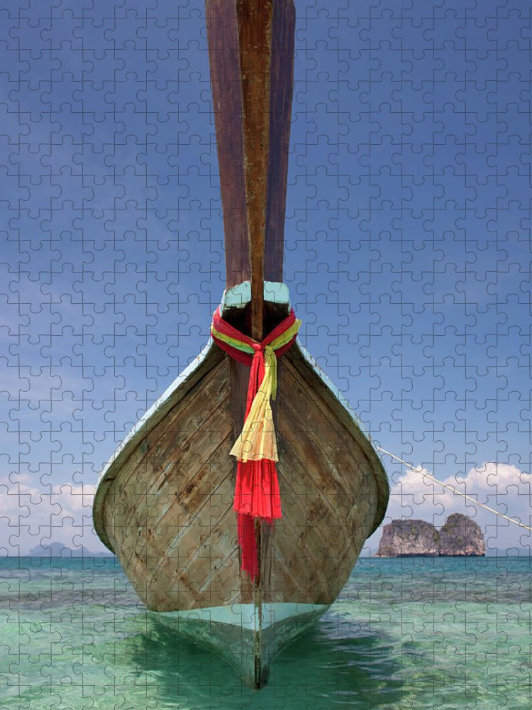 Andaman Sea Puzzle featuring the photograph Bow Of A Long-tailed Boat, Thailand by Enviromantic