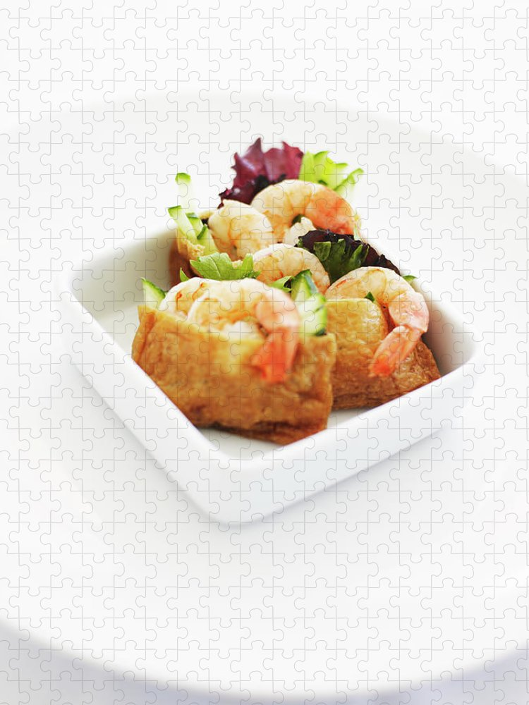 Dumpling Puzzle featuring the photograph Bowl Of Prawn Dumpling Appetisers by Thomas Barwick