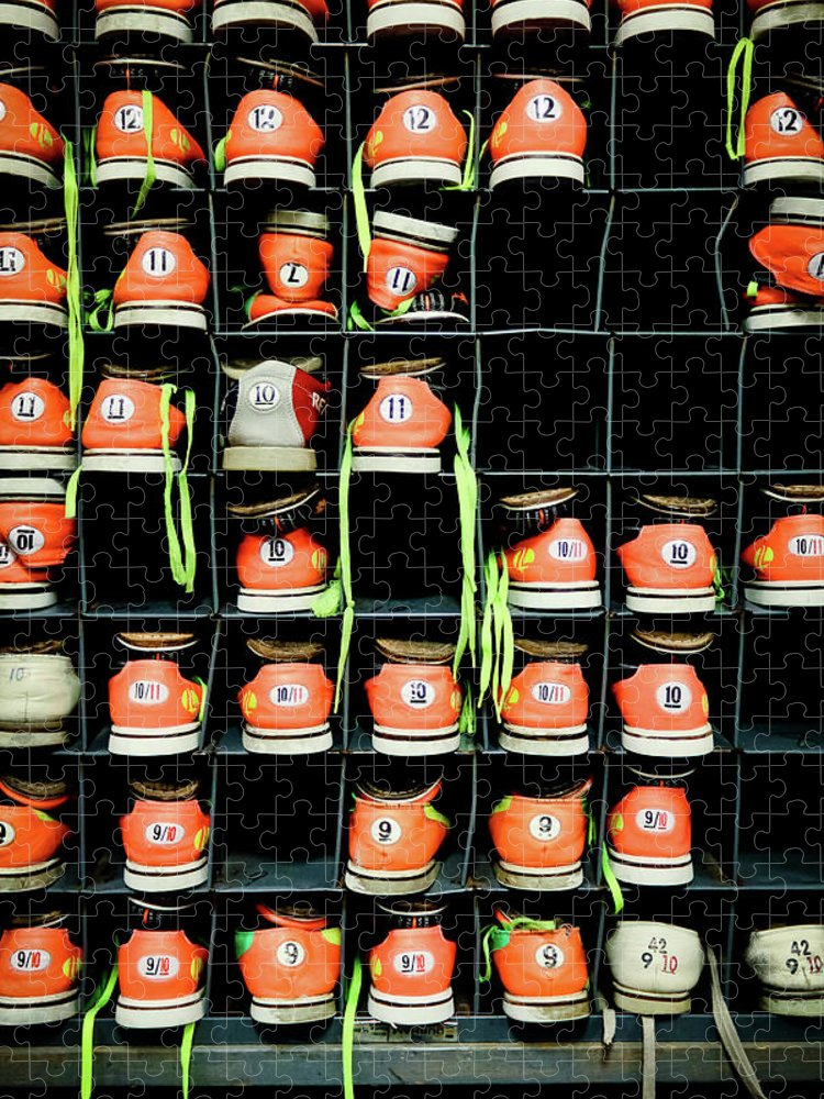 Orange Color Puzzle featuring the photograph Bowling Shoes by Christian Bird