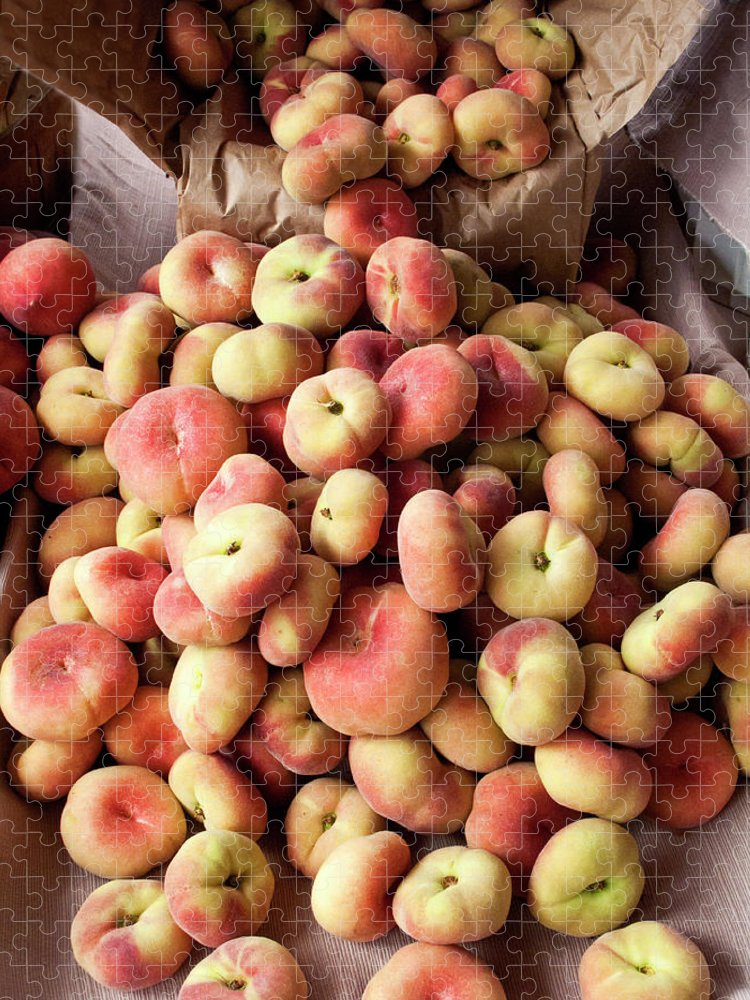 Retail Puzzle featuring the photograph Box Of Donut Peaches At A Farmers Market by Bill Boch