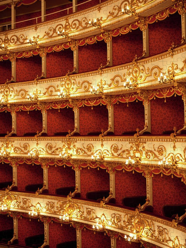 Event Puzzle featuring the photograph Boxes Of Italian Antique Theater by Naphtalina