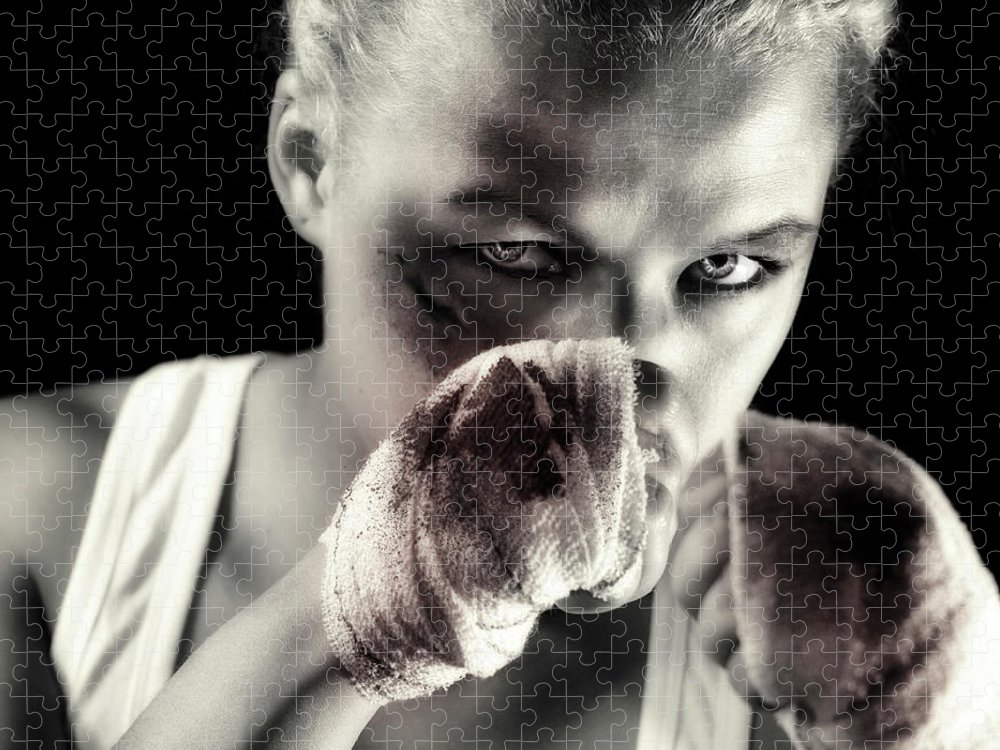 Toughness Puzzle featuring the photograph Boxing Girl by ...