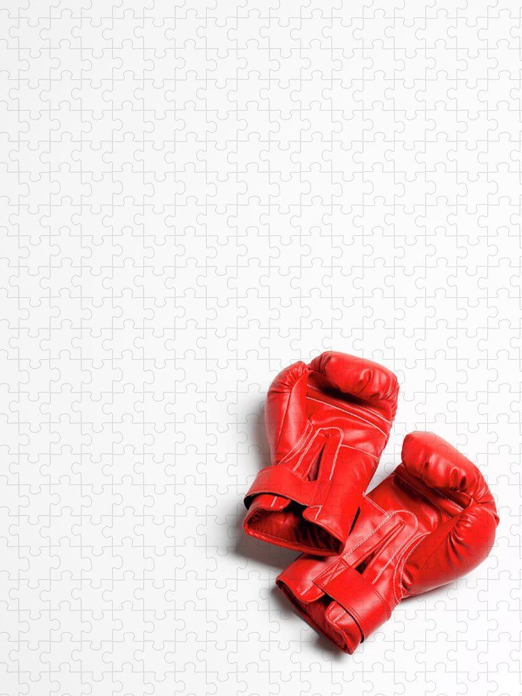 The End Puzzle featuring the photograph Boxing Gloves On White Background by Peter Dazeley