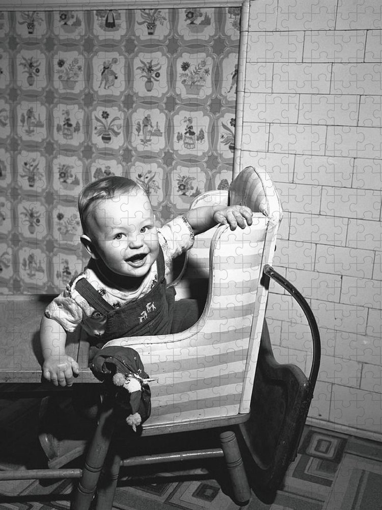 Child Puzzle featuring the photograph Boy 2-3 Sitting In High Chair, B&w by George Marks