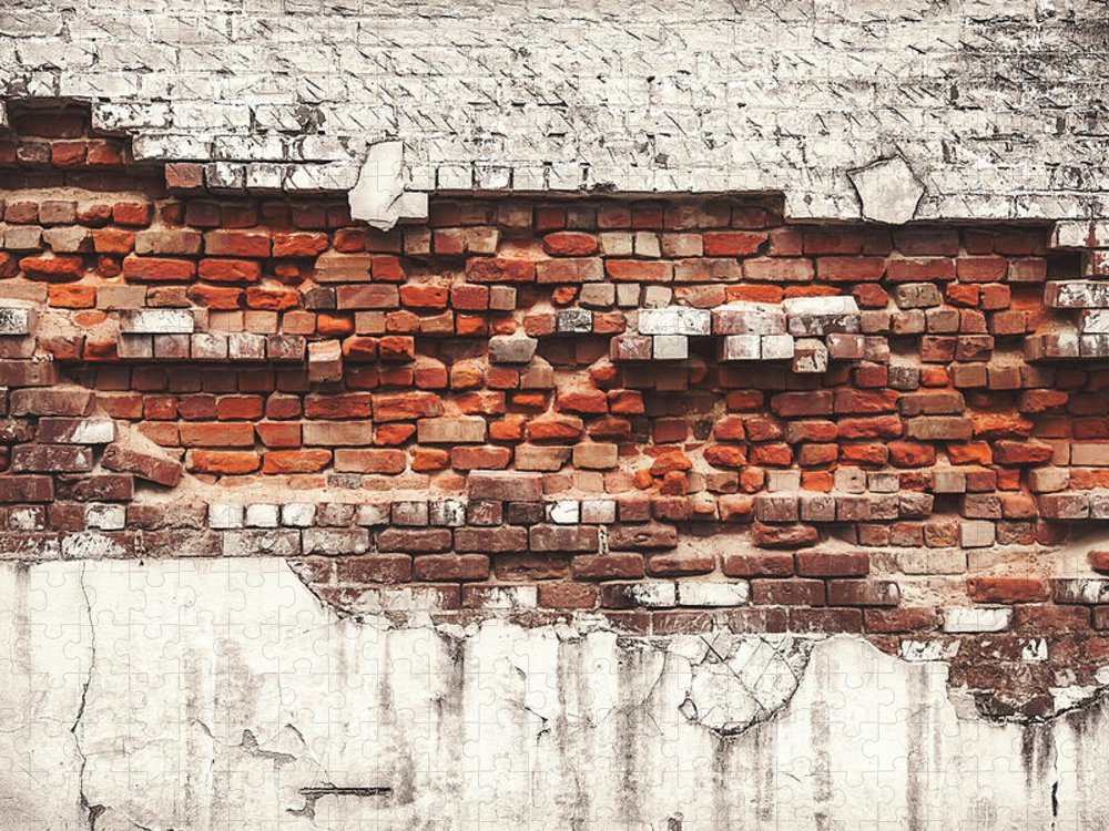 Tranquility Puzzle featuring the photograph Brick Wall Falling Apart by Ty Alexander Photography