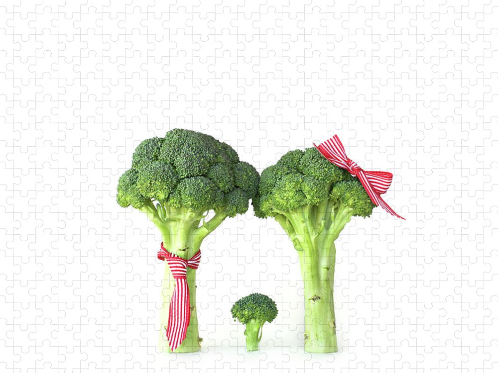 Broccoli Puzzle featuring the photograph Broccoli Dad, Mom And Baby by Stephanie Mull Photography