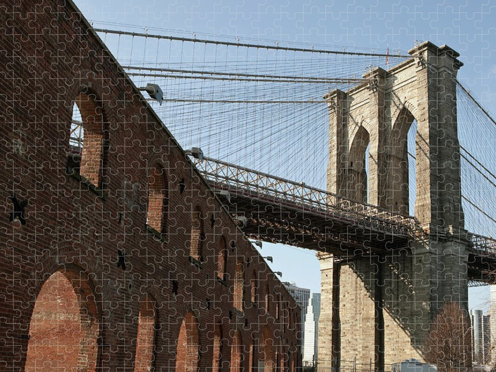 Arch Puzzle featuring the photograph Brooklyn Bridge & Empire Fulton Ferry by Just One Film