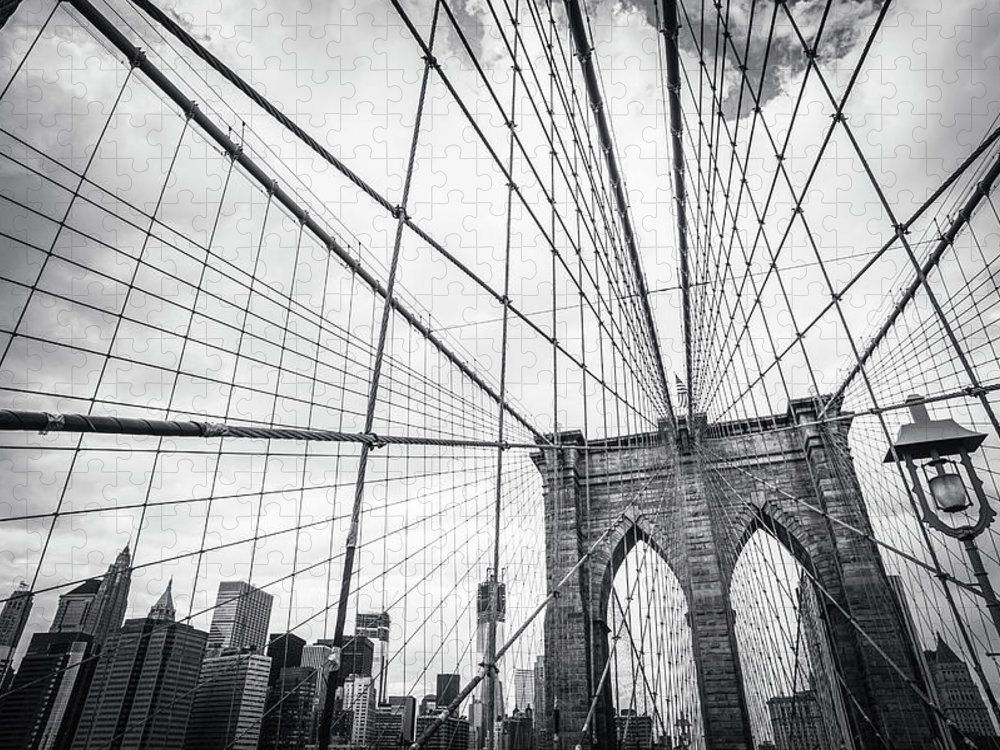 Downtown District Puzzle featuring the photograph Brooklyn Bridge And New York Skyline by Cirano83
