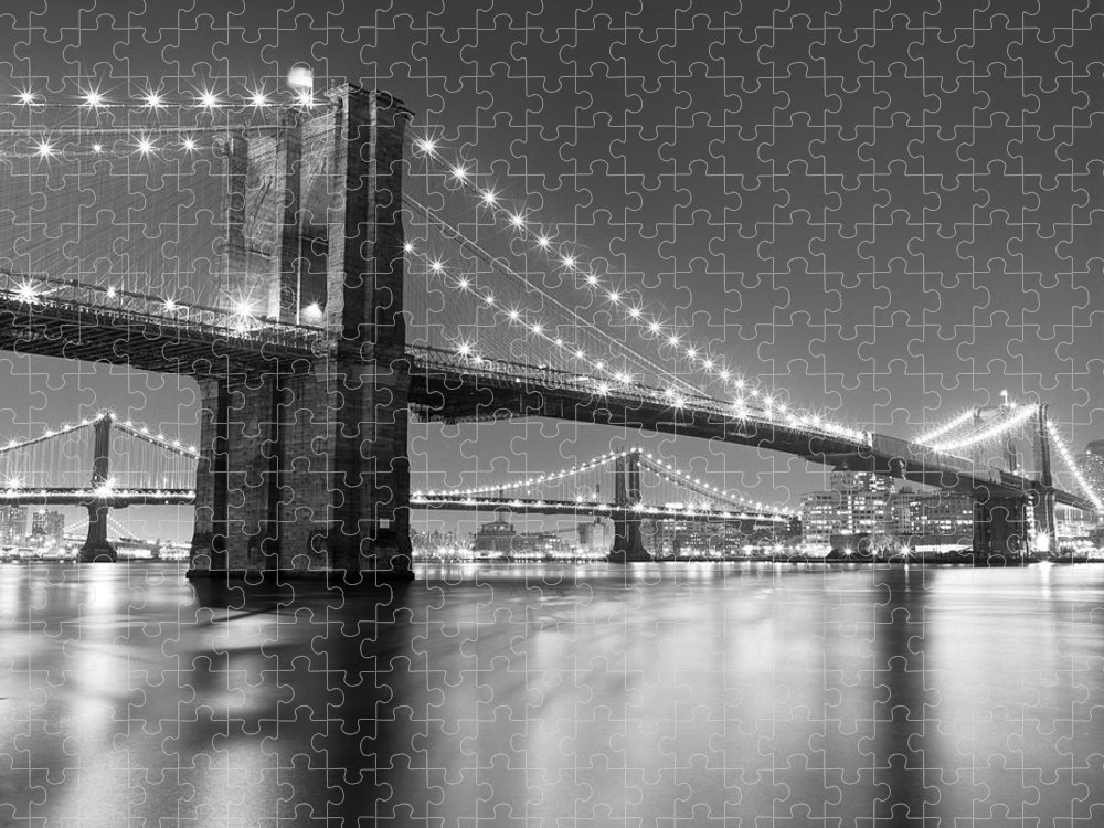 Scenics Puzzle featuring the photograph Brooklyn Bridge At Night by Adam Garelick