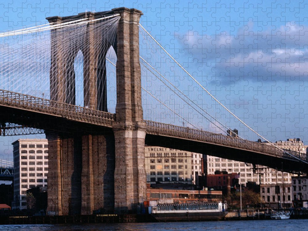 Built Structure Puzzle featuring the photograph Brooklyn Bridge by Dick Luria