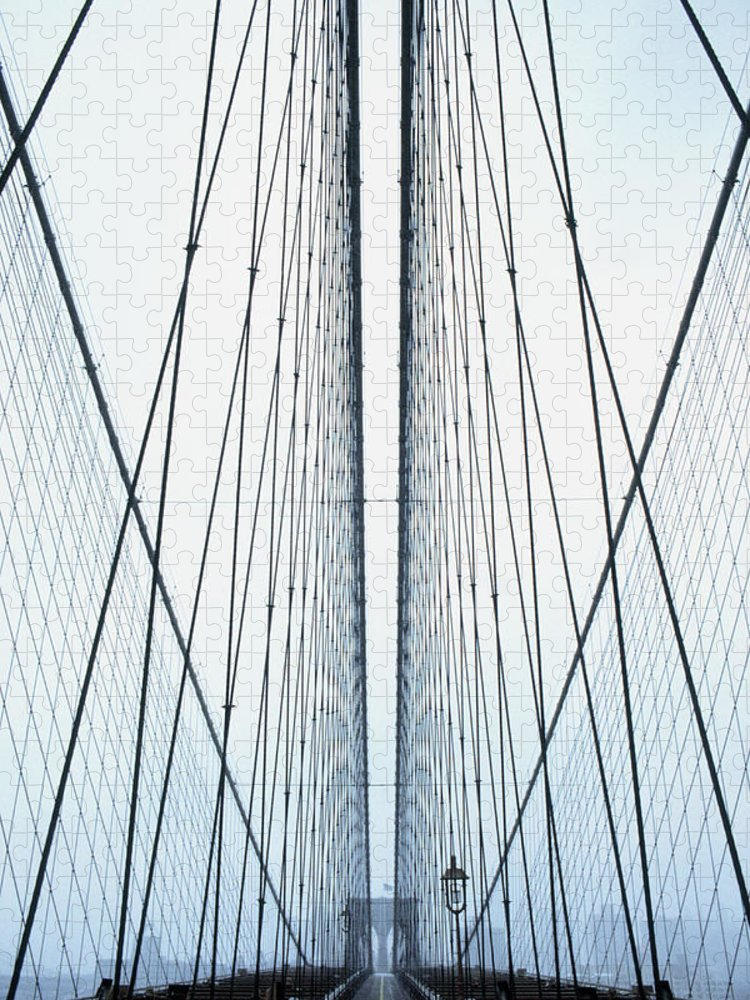 Suspension Bridge Puzzle featuring the photograph Brooklyn Bridge by Eric O'connell