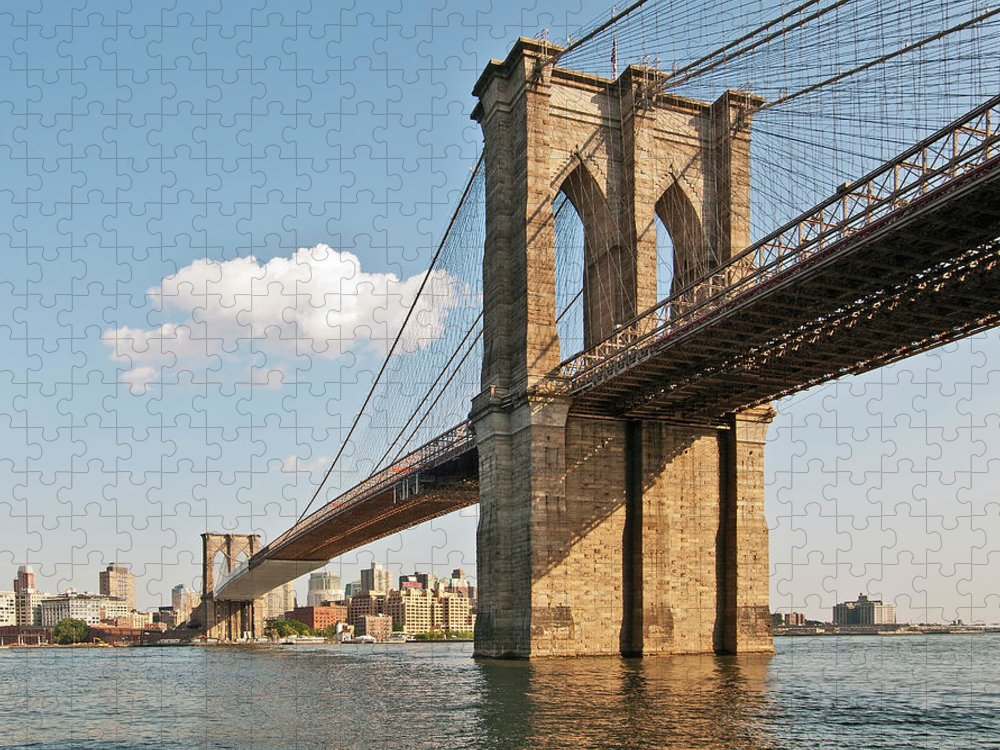 Lower Manhattan Puzzle featuring the photograph Brooklyn Bridge by Phil Haber Photography