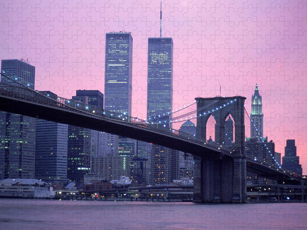 Dawn Puzzle featuring the photograph Brooklyn Bridge, Twin Towers, Nyc, Ny by Barry Winiker