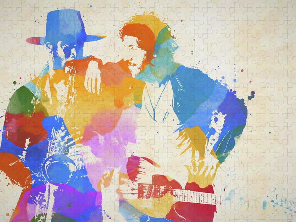Bruce And The Big Man Puzzle featuring the painting Bruce And The Big Man Watercolor Splatter by Dan Sproul