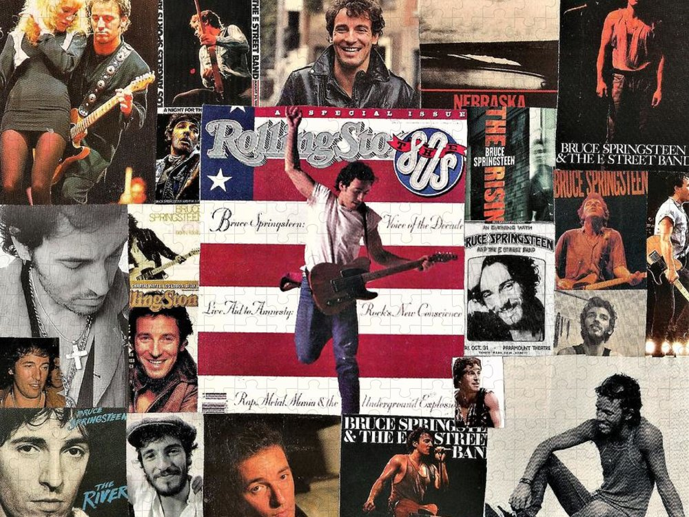 Collage Puzzle featuring the digital art Bruce Springsteen Collage 1 by Doug Siegel