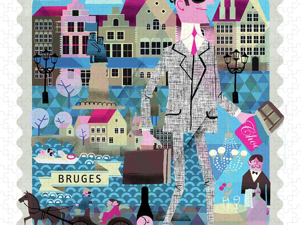 Belgium Puzzle featuring the digital art Bruges by Luciano Lozano