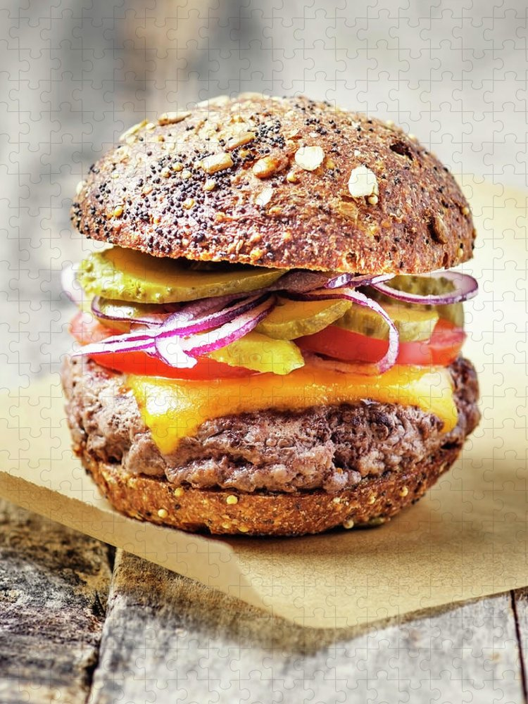 Bun Puzzle featuring the photograph Burger by Claudia Totir