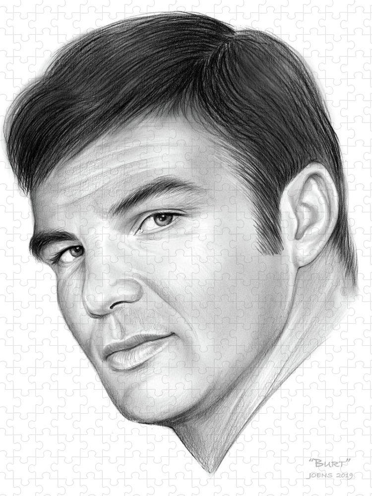 Burt Reynolds Puzzle featuring the drawing Burt by Greg Joens