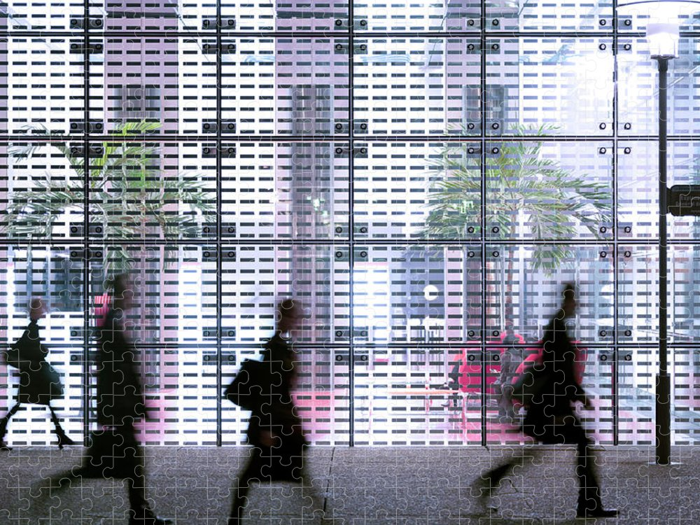 People Puzzle featuring the photograph Business People Passing Modern Office by Eschcollection