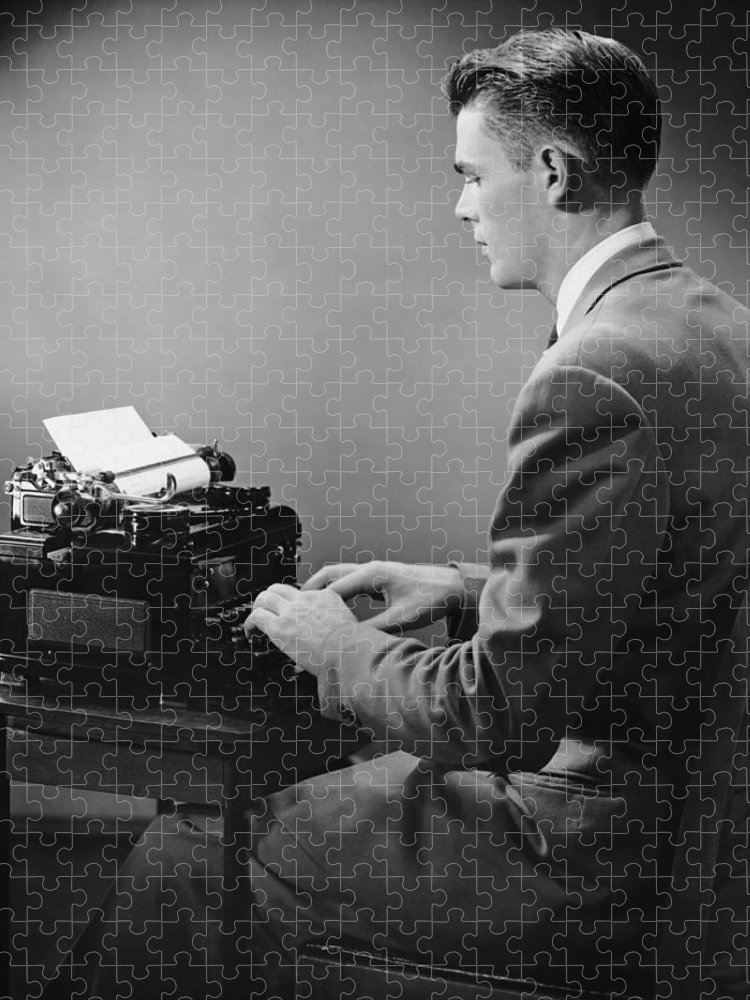 Three Quarter Length Puzzle featuring the photograph Businessman Inside Office Typing by George Marks