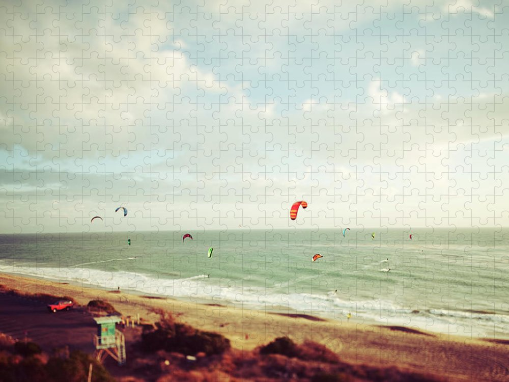California Puzzle featuring the photograph California Tilt Shifted Kite Surfers by Kevinruss
