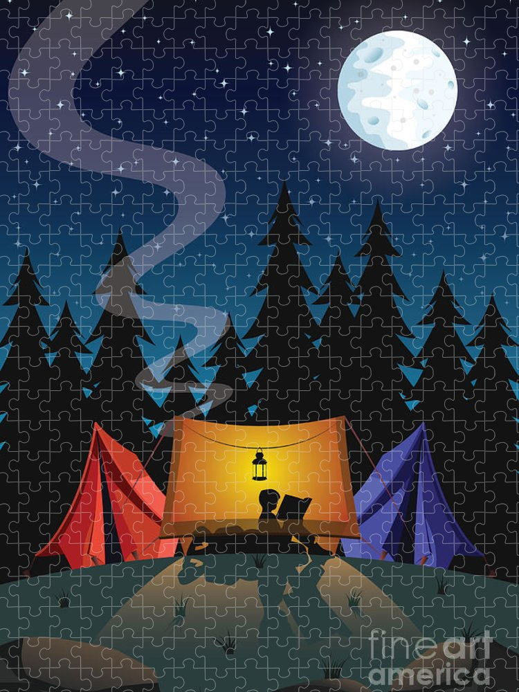 Illustrations Puzzle featuring the digital art Camping by Nikola Knezevic