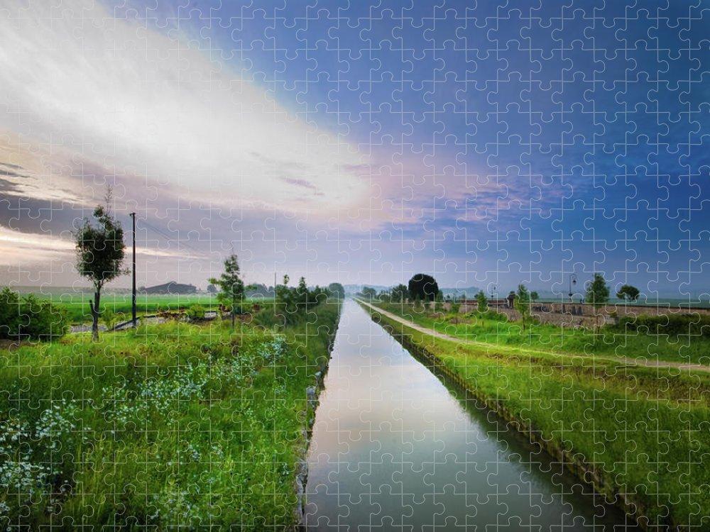 Scenics Puzzle featuring the photograph Canal De Lourcq - Precy Sur Marne - by © Nicolas Gaire
