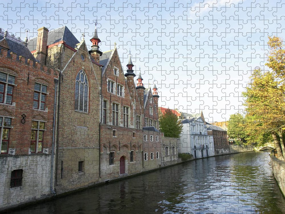 Old Town Puzzle featuring the photograph Canal In The Old Town Of Brugge by Christof Koepsel